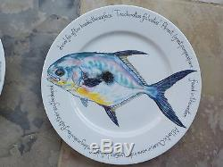 Richard Bramble Jersey Pottery Rare Set Of 6 Fish Dinner Plates Made In England