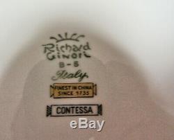Richard Ginori Contessa Black Dinner Plates 10 3/8 Diameter Set of 8 Gold Rim
