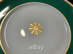 Richard Ginori Visconte Green Dinner Plates 10 3/8 Dia Set of 13 Gold Rim
