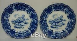 Ridgway TURKEY (FLOW BLUE) Dinner Plates SET OF TEN PLATES ANTIQUE FLOW BLUE