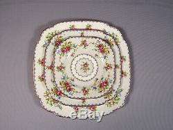 Royal Albert Petit Point Bone China Dinner Set for 12 Salad Bread Plates England