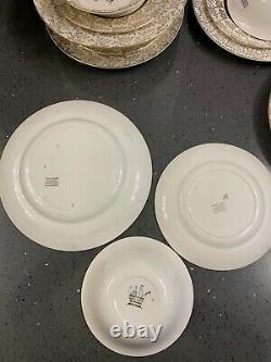 Royal Alma Rose 22 Kt Gold Bone China 6 dinner plates, 6 side plates, 6 bowls set