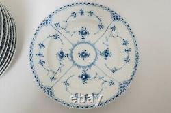 Royal Copenhagen Blue Fluted Half Lace Dinner Plates Set of 8- 571 FREE USA SHIP