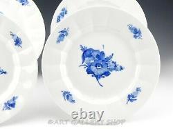 Royal Copenhagen Denmark #8549 ANGULAR BLUE FLOWER 10-1/8 DINNER PLATES Set of 4