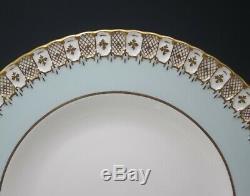 Royal Crown Derby Bone China Heraldic Blue Set Of 8 Dinner Plates 10.5