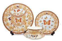 Royalty Porcelain 16-pc Dinner Set, Butterflies, Bone China Porcelain