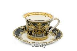 Royalty Porcelain 16-pc Dinner Set, Greek Amphora, Premium Bone China (Gray)
