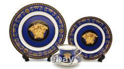Royalty Porcelain 16-pc Dinner Set Maskarone, Greek Key Set For 4 (Blue)