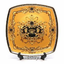 Royalty Porcelain 16-pc Luxury Yellow, Greek Key Dinner Set, 24K Gold Medusa