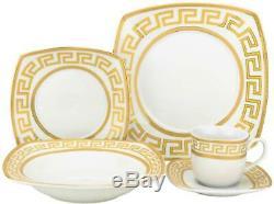 Royalty Porcelain 20-pc Square Dinner Set Greek Key, Bone China Porcelain