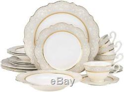 Royalty Porcelain 20pc'Always' White Gold Dinnerware Set, Bone China Porcelain