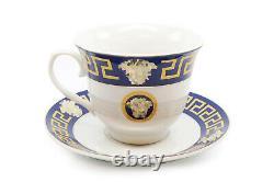 Royalty Porcelain 49-pc Dinner Set Medusa, Greek Key Banquet Set for 8 (Blue)