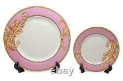 Royalty Porcelain 49-pc Dinner Set Pink Acanthus, Vintage Pink Banquet Set for 8