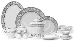 Royalty Porcelain 57-pc Dinner Set, Greek Key Pattern, Bone China (Silver)