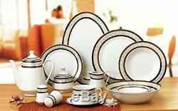 Royalty Porcelain Black Greek Key 57-pc Dinnerware Set for 8, Bone China