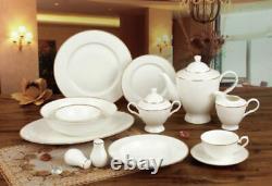 Royalty Porcelain Elegant White 57-pc Banquet Dinnerware Set for 8, Bone China