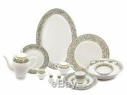 Royalty Porcelain Silver Flowers 57-pc Dinnerware Set for 8, Bone China