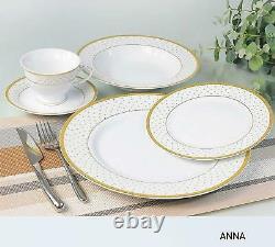 Royalty Porcelain Vintage Antique 20-pc Dinnerware Set'Anna Gold