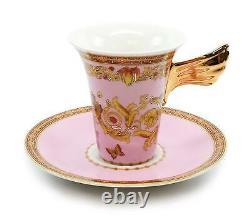 Royalty Porcelain Vintage Pink 5-pc Place Setting'Ladybug', Premium Bone China