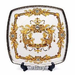 Royalty Porcelain White 10 Dinner Plates, Luxury Greek Key 24K Gold, Set of 6