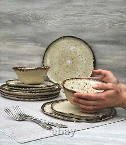 Rustic Ceramic Dinnerware Set of Dessert, Dinner Plates and Soup, Salad-Serving