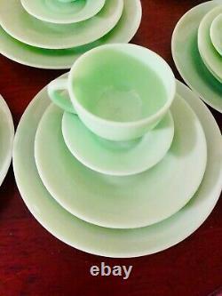 SALE 12 pieces Jadeite jadite set dinner ware cups Plates saucers 3 groups 4
