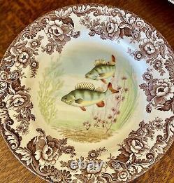 SALE Spode WOODLAND Stream Porcelain FISH Plates SET OF 6 Dinner Size 10.5