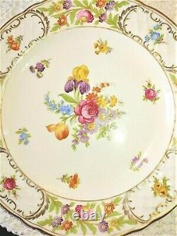 SCHUMANN BAVARIA EMPRESS DRESDEN FLOWERS 10 1/8 Dinner Plate Set 4 GERMANY