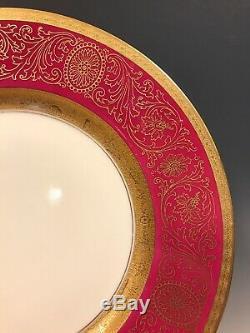 SET 12 DINNER PLATES Pickard PINK FUCHSIA GOLD ENCRUSTED Hutschenreuther