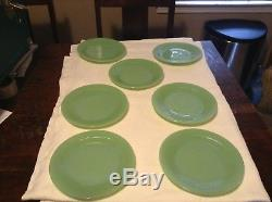 SET 7 DINNER PLATES! Vintage FIRE KING JADE-ITE ovenware JANE RAY pattern
