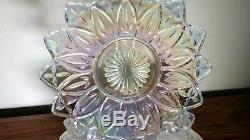 SET OF 11! Federal Glass 9.25 Dinner Plate Iridescent Glass Rainbow Petal 54-79