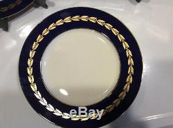 SET OF 12 GORGEOUS LENOX COBALT GOLD DINNER PLATES Numbered
