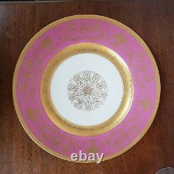 SET OF 12 Vintage Pink and Gold 11 Service Plate Hand gilt applied