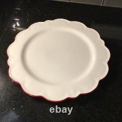 SET OF 6 Williams Sonoma AERIN Scalloped Dinner Chargers Plates Red Rimmed NEW