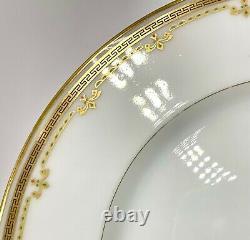 SET OF 9 B&Co L BERNARDAUD LIMOGES GOLD WHITE GREEK KEY DINNER PLATES, BER10