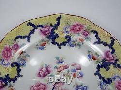 SET of 12 ANTIQUE CAULDON ENGLAND YELLOW TRIM PEONY FLORAL DINNER PLATE 10.25
