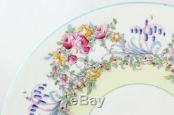 SETs 4 DINNER PLATES ROYAL WORCESTER BONE CHINA JUNE Z502 PINK AQUA BLUE FLORAL