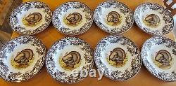 SPODE WOODLAND TURKEY DINNER PLATES 10.5 Set of 8 England