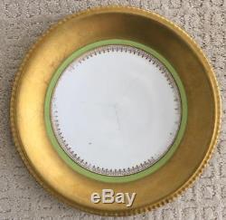 STUNNING Set of 12 LRL Limoges France Green Gold Encrusted 9.75 Dinner Plates