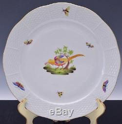 Superb Set Of 9 Herend Rothschild Bird Pattern Hungary Porcelain Dinner Plates