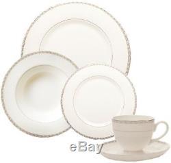Sabichi 20 Piece Fine Bone China Dinner Set White With Silver Edging