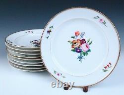 Set 10 Vieux Paris Porcelain Finely Hand Painted Roses Bouquet Dinner Plate Gold