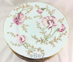 Set 11 Antique Dinner Plates Hand Painted Artist P. Simpson Coalport Bone China