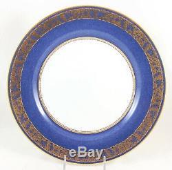 Set 11 Dinner Plates Copeland Spode Bone China R7321 Sponge Blue Gold Encrusted