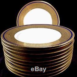 Set 11 Limoges Boyer Gold Encrusted Cobalt Blue Stripe 10.5 Dinner Plates Lot