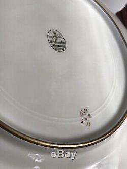 Set 12 Hutschenreuther Raised Gold Encrust Roses Cobalt Blue Dinner Plates 10.5