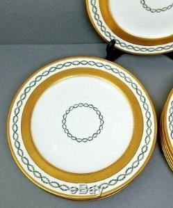 Set 12 Minton Dinner Plates Loring Andrews Gold Encrusted Green Laurel Antique