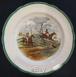 Set 12 RARE Copeland Spode England Herring Fox Hunt Dinner Plates Scalloped