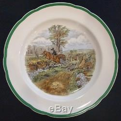 Set 12 RARE Copeland Spode England Herring Hunt Dinner Plates Green Scalloped