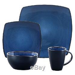 Set 16 Dinnerware Dinner Square Plates Dishes Stoneware Corelle Blue Kitchen New